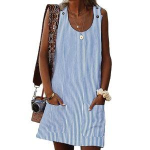 Sky Blue Boho Striped Shift Dress